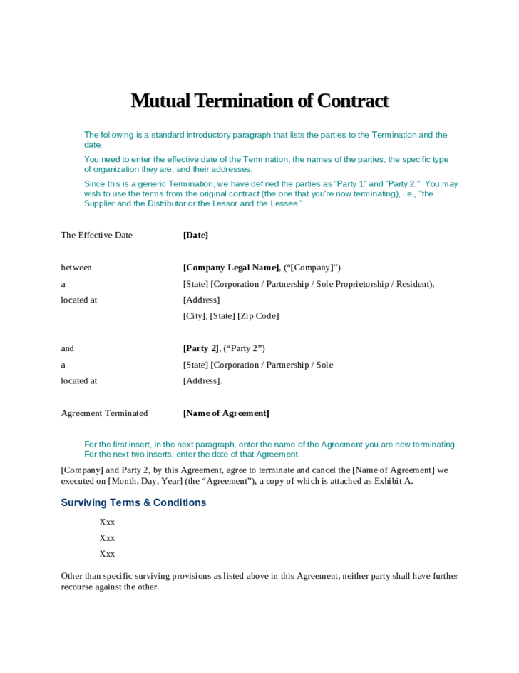 Contract Termination Sample Letter Notice Of Mutual Termination Of Contract Free Download