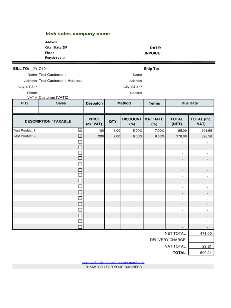 basic vat invoice | sample customer service resume, Invoice examples