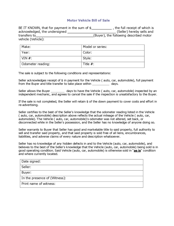 sample bill of sale for a car