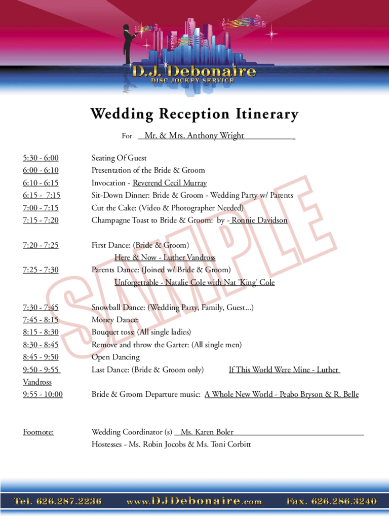 Wedding itinerary template resume template 8 sales proposal template itinerary sample customer service wedding reception itinerary d j debonaire d1 8 sales pronofoot35fo Images