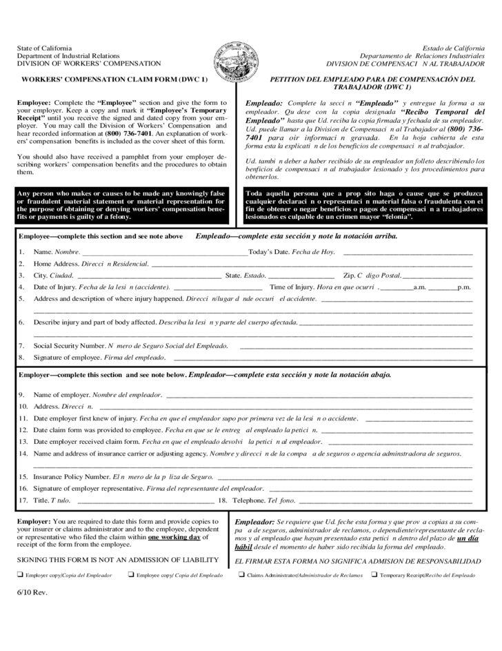 California Workers Compensation Form Dwc 1 | Handwriting Paper Bat