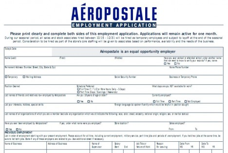 Aeropostale Application Print Out Aimed for Bright Future Career - Printable Employment Application