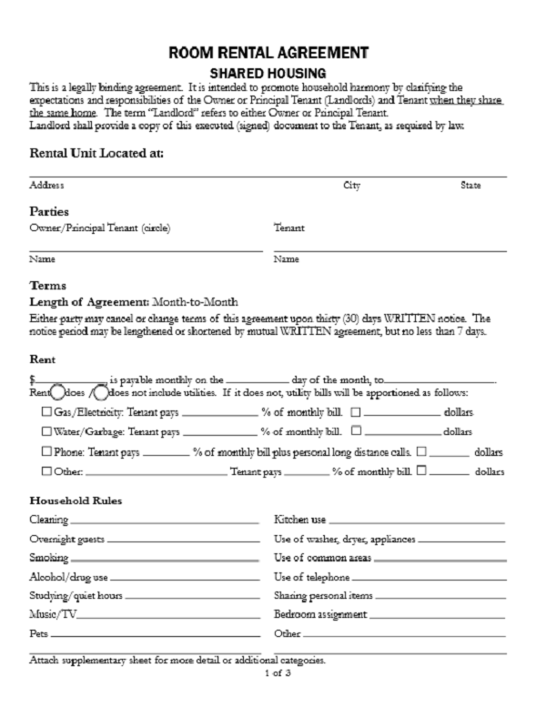 renting application form