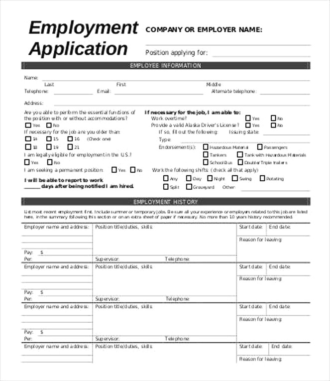Best Questions To Include In An Employment Application Form - Free