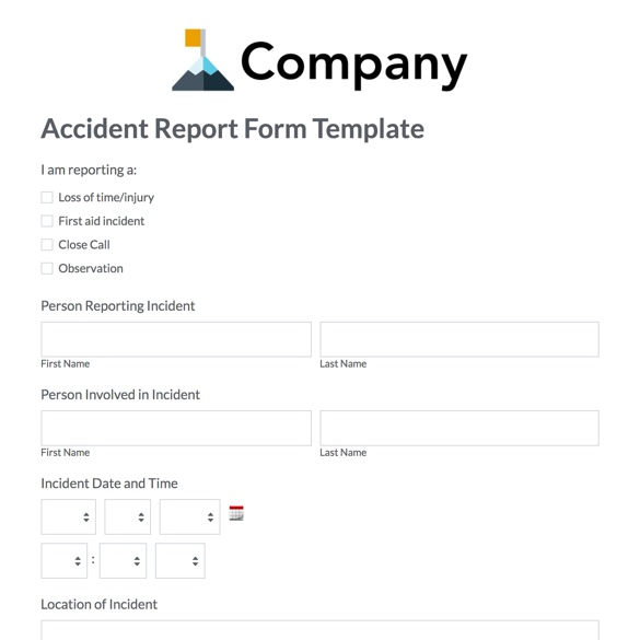 Web Form Templates Customize  Use Now Formstack - accident reports template