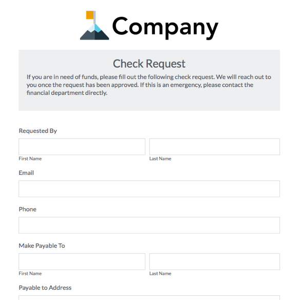 Vendor request form lukexco for User creation form template