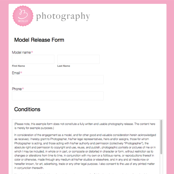 Photography Forms  Templates Formstack - Photographer Release Forms