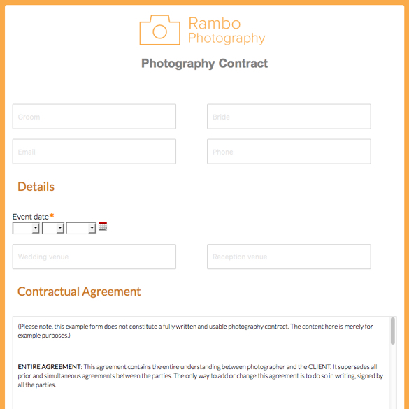 Photography Forms  Templates Formstack