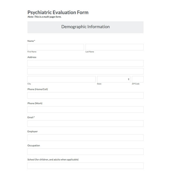 Psychiatric Evaluation Form Template   Social Work Assessment Form Lukex Co