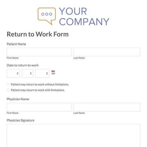 HR Forms and Templates Streamline Admin Tasks Formstack - return to work form