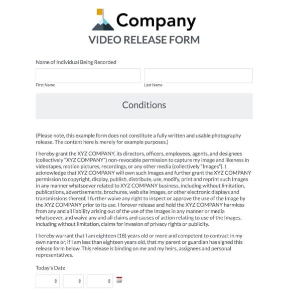 standard release form for video - Morenimpulsar