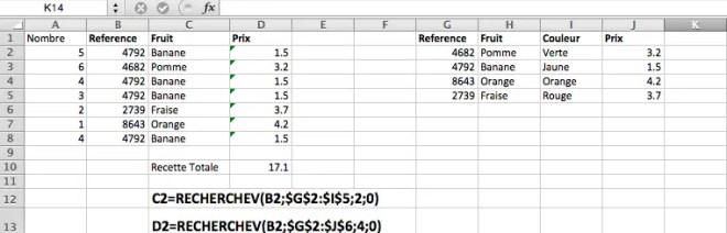 Exemples d'utilisation de la fonction RECHERCHEV pour retrouver autoatiquement des données dans un tableau