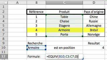 REtourver des données dans un tableau grace à la formule EQUIV
