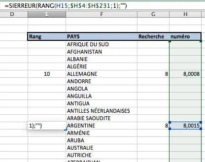 Calculer le rang dans une plage de données