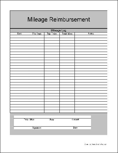 Free Basic Mileage Reimbursement Form from Formville - Mileage Reimbursement Forms