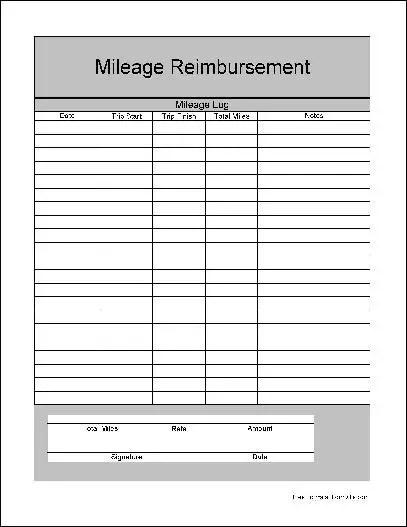 Free Wide Row Mileage Reimbursement Form from Formville - reimbursement form