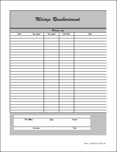 Free Fancy Mileage Reimbursement Form from Formville - Mileage Reimbursement Forms