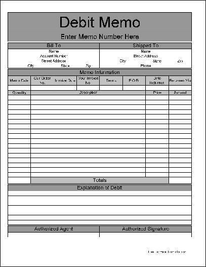 credit and debit memo excel template sample of debit note format