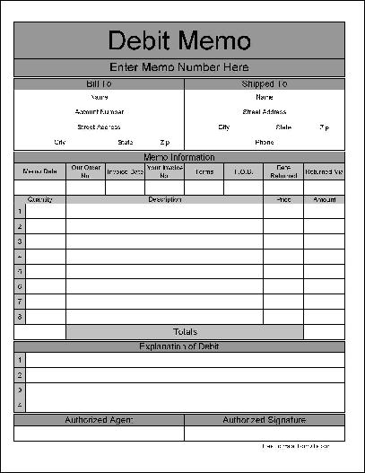 Free Fancy Wide Numbered Rows Automotive Debit Form from Formville - debit memo template