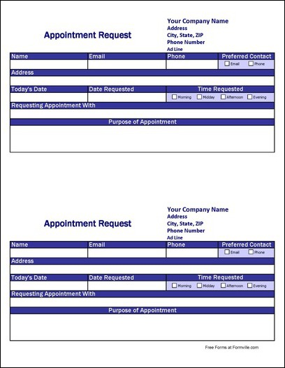 Free Detailed Appointment Request from Formville