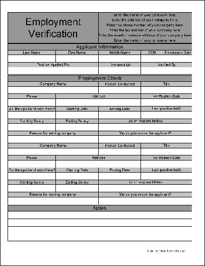 Free Personalized Wide Row Fancy Employment Verification Form from - employment verification forms