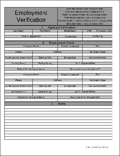 Free Personalized Numbered Section Fancy Employment Verification - blank employment verification form