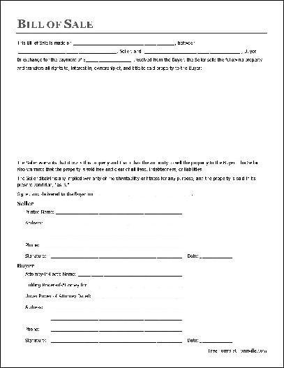 Free General Bill of Sale (Individual to Attorney-in-Fact) from - general power of attorney forms