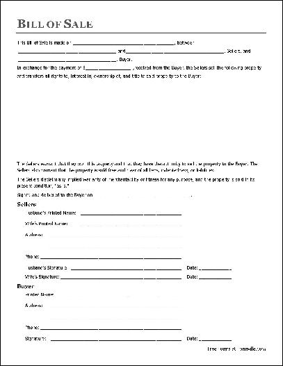 free general bill of sale form pdf - Deanroutechoice - general bill of sale template