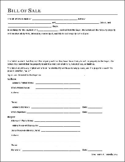 Free Notarized General Bill of Sale (Husband and Wife to Attorney-in
