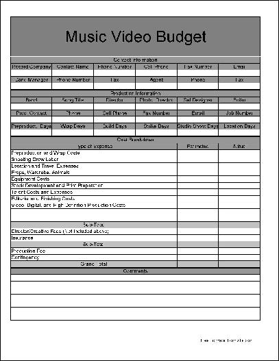Free Basic Music Video Budgeting Form from Formville - form for budgeting