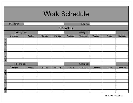 Work Schedule Template Monthly Excel | Resume For Project Manager
