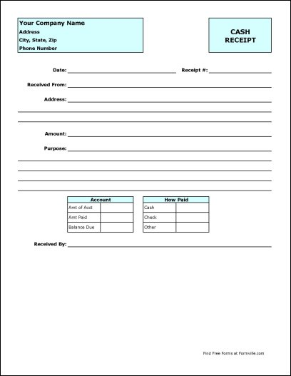 Free Cash Receipt Template Downloads – Cash Receipt Template Free