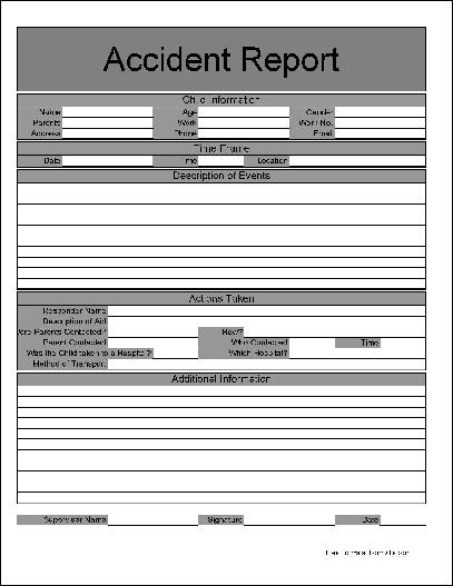 daycare accident report form - Sivancrewpulse - accident report template