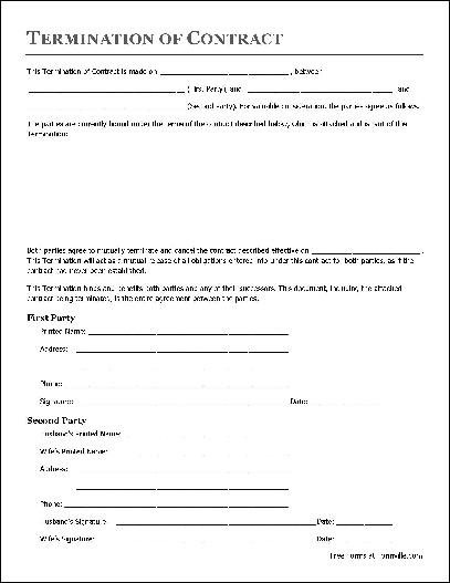 Free Termination of Contract (Individual to Husband and Wife) from