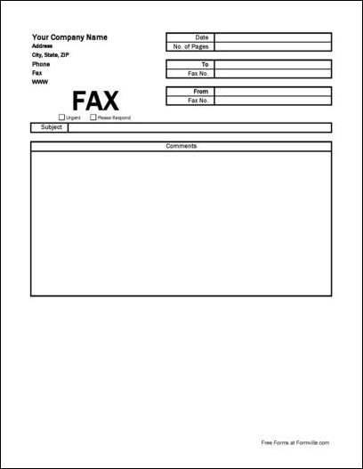 Free Simple Company Fax Cover Sheet from Formville