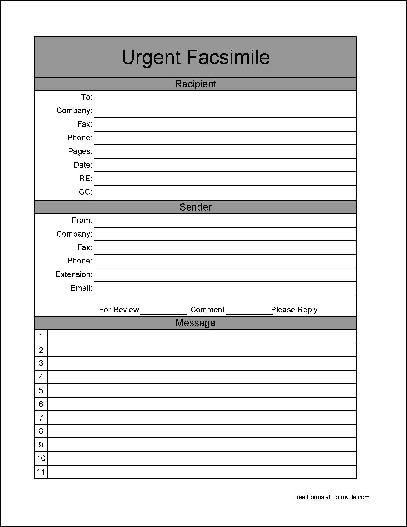 Free Basic Urgent Fax Cover Sheet (Wide Numbered Lines) from Formville
