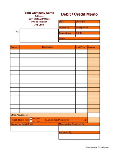 Free Debit and Credit Memo from Formville - debit memo template