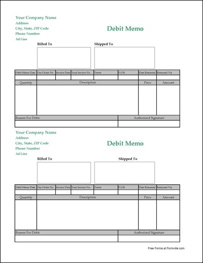 Free Debit Memo from Formville - debit memo template