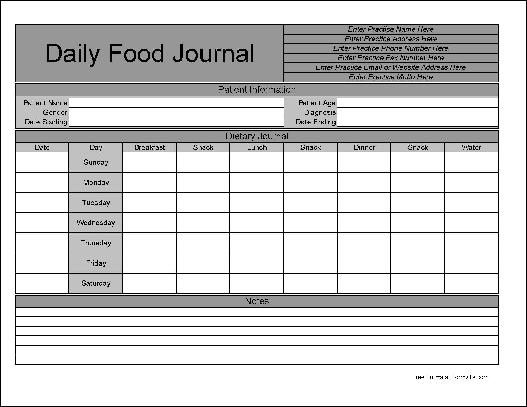 Free Personalized Wide Row Daily Food Journal from Formville - blank food log