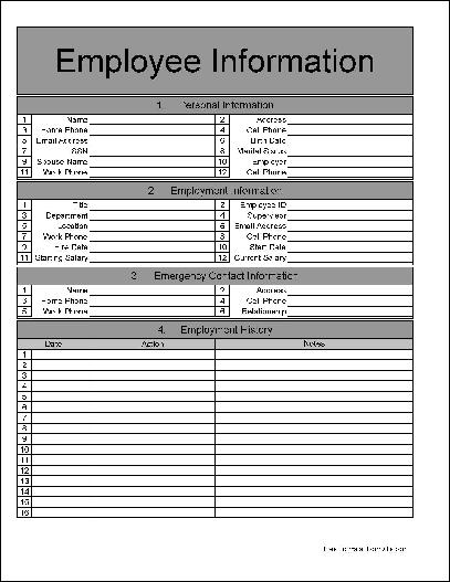 Free Numbered Row Employee Information Form from Formville - employee info form