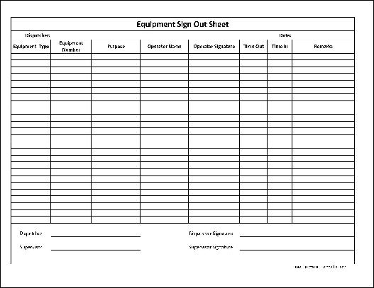 Free Basic Equipment Sign Out Sheet (Supervisor Signature) from