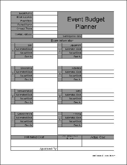 Free Wide Numbered Row Event Budget Planner from Formville - free event planner template