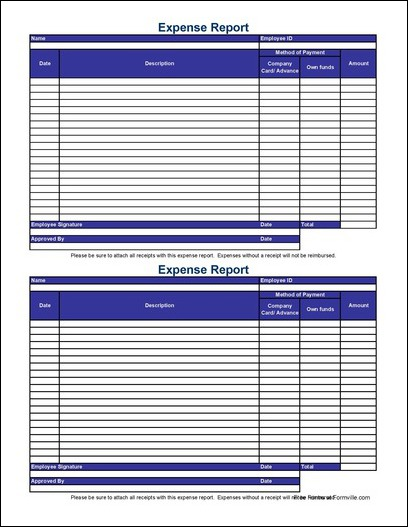 Free Small Simple Expense Report from Formville