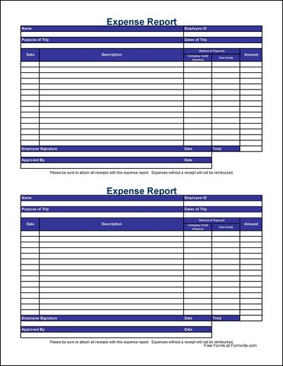 Free Small Simple Travel Expense Report from Formville