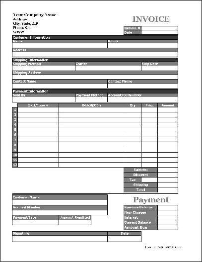 Free Easy-Copy Basic Product Invoice with Payment Stub (Tall) from