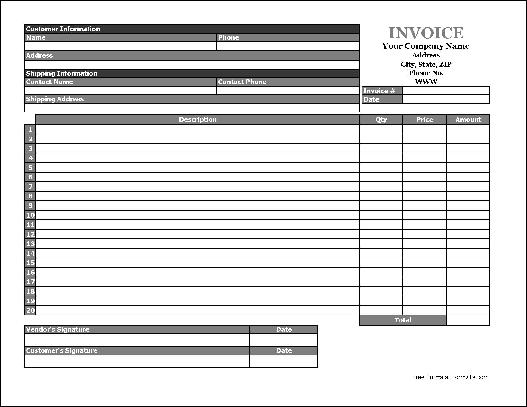 Free Easy-Copy Simple Product Invoice (Wide) from Formville - product invoice