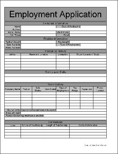 Blank Job Application Template Pdf | Free Cover Letter Templates ...