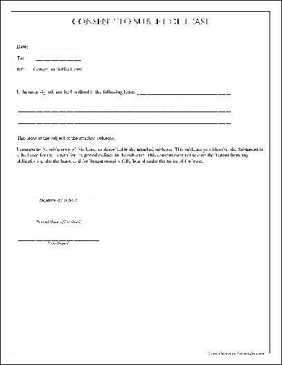 Free Simple Consent to Sublet of Lease from Formville - free simple lease agreement template