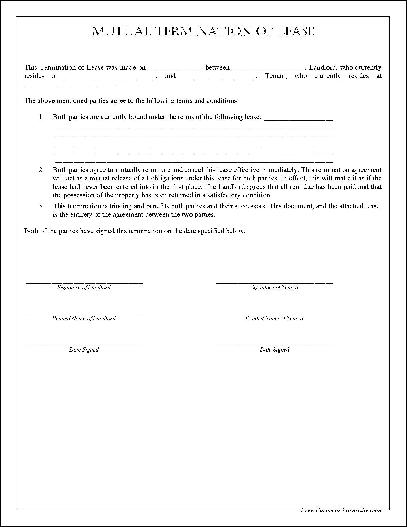 Free Simple Mutual Termination of Lease from Formville - lease termination form