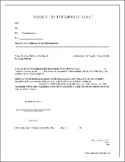 Free Notarized Notice to Terminate Lease from Formville - lease termination form